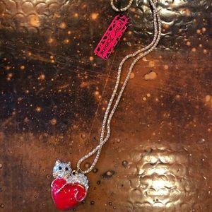 NWT Betsey Johnson Cat Heart Necklace Rhinestone